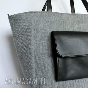 szare na ramię elegancka shopper bag worek - tkanina szara