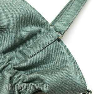 na ramię nowoczesna shopper bag sack - tkanina zielona