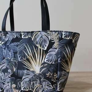 elegancka na ramię czarne shopper bag - monstery