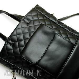 pod choinkę prezent shopper bag pikowany - czarny