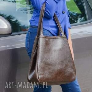 elegancka na ramię szare shopper bag worek - tkanina dark