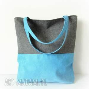 na ramię shopper bag duo- szarość i błękit