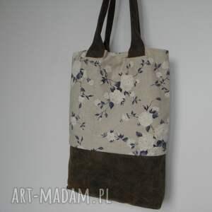 Artmanual hand made na ramię skóra shopper bag niebieskie róże