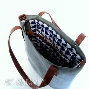 ręcznie robione na ramię szara shopper bag