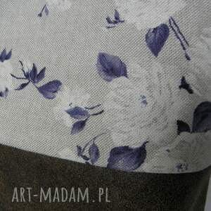 brązowe na ramię torba shopper bag niebieskie róże - skóra