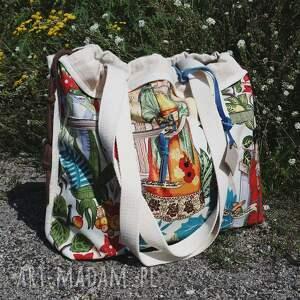 eleganckie na ramię worek shopperbag frida kahlo płótno