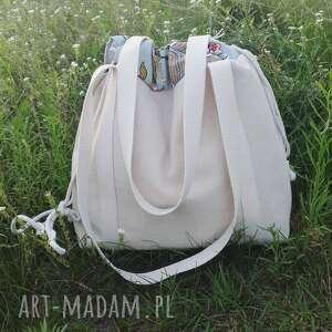 torba na ramię białe shopperbag płótno worek kwiaty