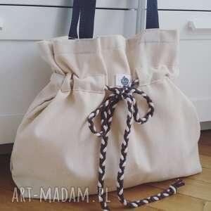 torba na ramię brązowe shopperbag płótno pleciony sznurek