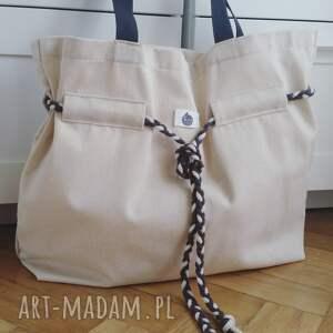 białe na ramię shopperbag płótno pleciony sznurek