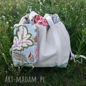 niebanalne na ramię torba shopperbag płótno worek kwiaty