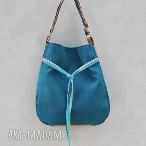 turkusowe na ramię swobodna simply bag - duża torba worek