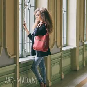 czerwone na ramię torebka do pracy skórzana ręcznie wykonana