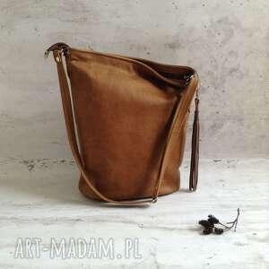 beżowe na ramię skórzana torba