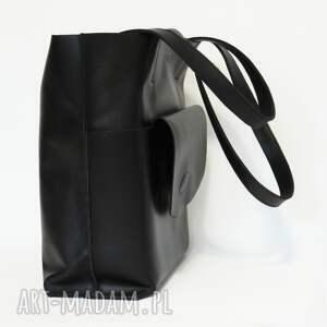 na ramię skóra skórzana torebka typu shopper