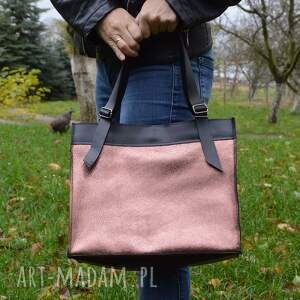torba na ramię na skórzana torebka, czarno różowa