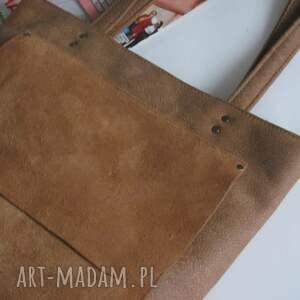 shopperka na ramię skórzana torebka