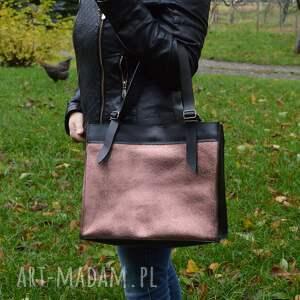 trendy na ramię torba na skórzana torebka, czarno różowa