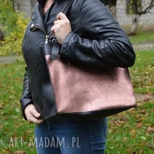 różowe na ramię skórzana torebka, czarno różowa
