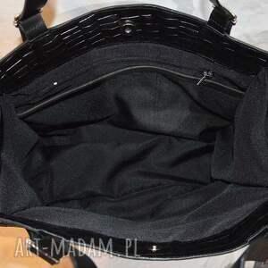 na ramię ze-skóry skórzana torebka, czarna, shooper