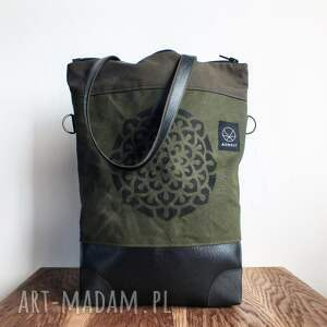 na ramię wodoodporna solidna torba canvas khaki mandala