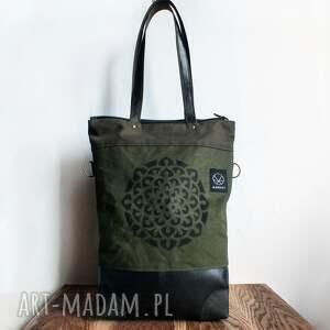 handmade na ramię wodoodporna solidna torba canvas khaki mandala