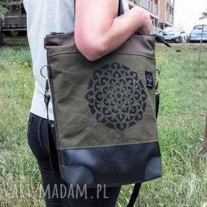 handmade na ramię mandala solidna torba canvas khaki