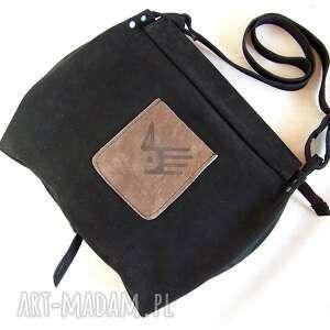 handmade na ramię skóra surowa baronowa czarna zamszowa