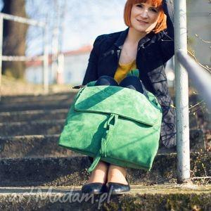 na ramię zieleń duża torebka ze świetnej jakości, grubej