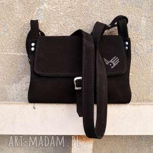 CZAJKACZAJKA na ramię: surowa baronowa mała czarna zamszowa - torebka