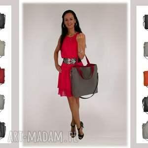markowe torebki na ramię 16 -0026 szara duża torebka damska
