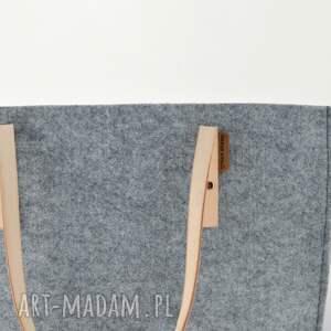 skóra na ramię szara pojemna filcowa torba