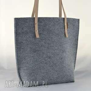 beżowe na ramię filc szara pojemna filcowa torba