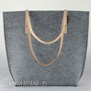 ciekawe na ramię skóra szara pojemna filcowa torba