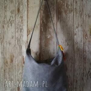 handmade na ramię torba szara z alcantary - sowy