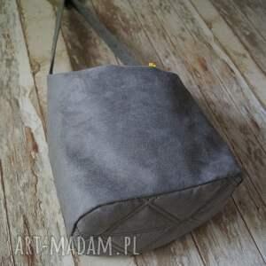 kolorowe na ramię alcantara szara torba z alcantary - sowy