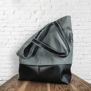ekologiczna na ramię szara torba z kieszeniami