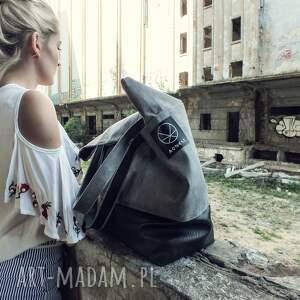 hand made na ramię pojemna torba szara