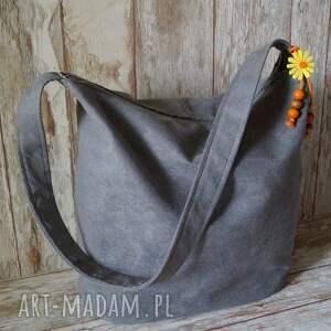 torba na ramię szare szara z alcantary - sowy