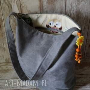 handmade na ramię sowy szara torba z alcantary -