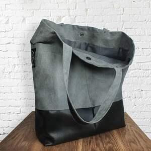 czarne na ramię kobieca szara torba z kieszeniami