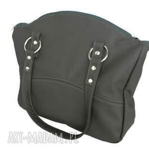 trendy na ramię skórzane-torebki 41-0003 szara torebka skórzana