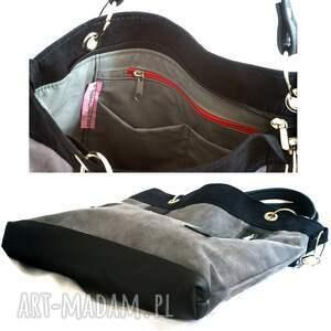 45cc42a29e423 szare na ramię torebka szaro czarna z zamkami. pojemna ...