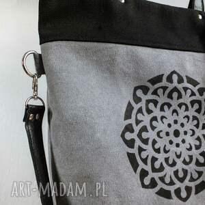 0974f6540234c czarne na ramię torba-na-zamek szaro czarna torba mandala