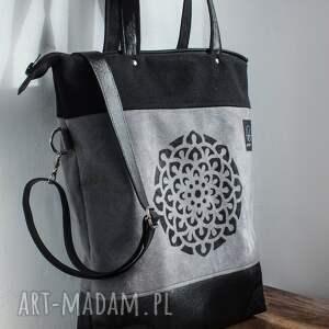 f1a9d87c1b8e5 handmade na ramię torba-na-zamek szaro czarna torba mandala