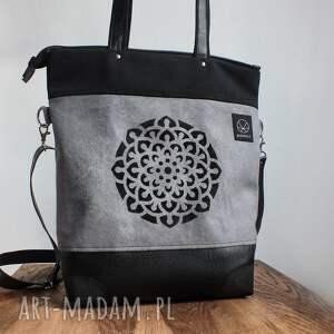 torba kobieca na ramię szaro czarna mandala