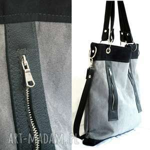 d38acbc259e19 hand made na ramię torebka szaro czarna z zamkami