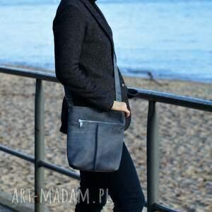 hand-made na ramię torba szaro niebieska listonoszka