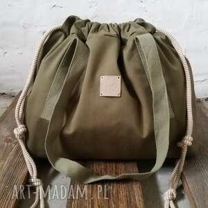 niepowtarzalne na ramię tashpack khaki & tajemniczy las / tkaninowe torby