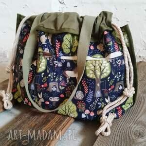 niepowtarzalne na ramię zestaw tashpack khaki & tajemniczy las / tkaninowe torby