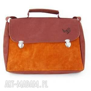 483d75dad6481 pomarańczowe na ramię skóra teczka brązowo-ruda